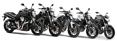 Yamaha MT-09 850 2015 vs Yamaha MT-07 700 2015 vs Yamaha 1670 MT-01 2006 vs Yamaha MT-03 2006 vs Yamaha MT-125 2015