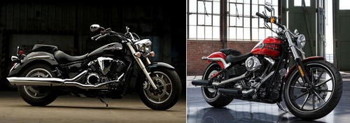 Yamaha XVS 1300 A MIDNIGHT STAR 2013 vs Harley-Davidson 1690 SOFTAIL BREAKOUT FXSB 2013
